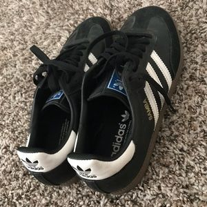 Adidas Samba Black Suede Leather Accent Sneakers
